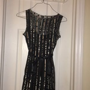Dresses & Skirts - Sheer Black Dress with Stripe Detailing and Ribbon